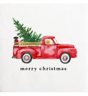 Napkin Cocktail - Merry Christmas Truck