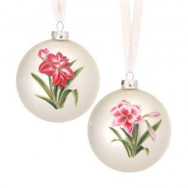Glass Amaryllis Ball Ornament