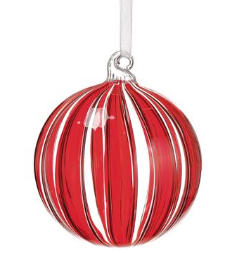 Glass Ball Ornament  Red Clear