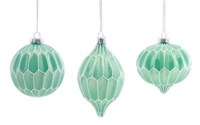 """Glass Ornament Mint Green 4"""""""