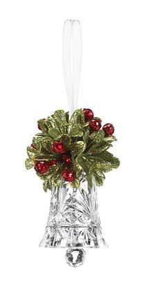 Teeny Mistletoe Krystal Bell Ornament