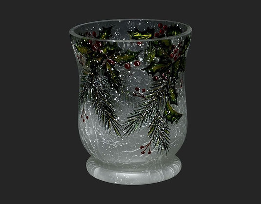 """4"""" Glass Holly Candle Holder/ Hurricane"""