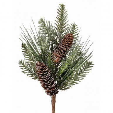 Frosted Pine Spray with Cones