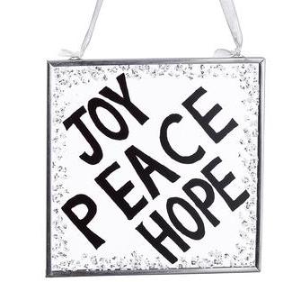 Joy, Peace & Hope Glass Ornament