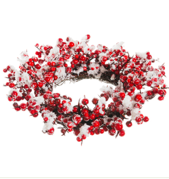 """3.5"""" Snow Berry Candle Ring"""