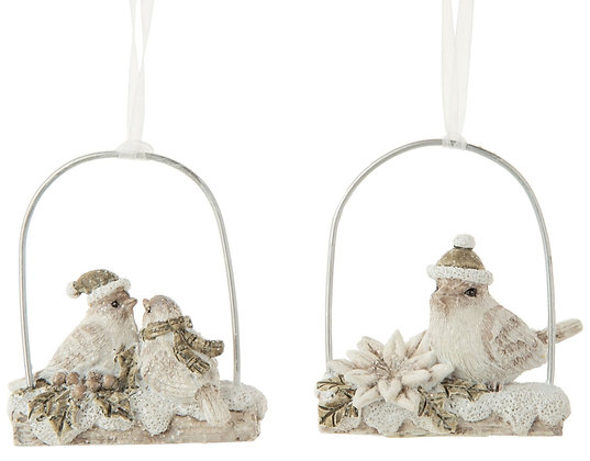 "Bird Couple on Swing Ornament 3"""