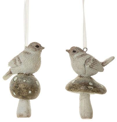 "Bird on Mushroom Ornament 3"""