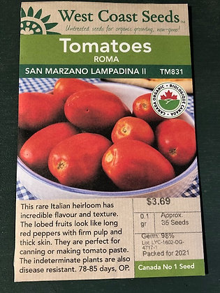 Tomato San Marzano  -  West Coast Seed