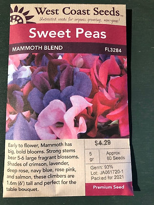 Sweet Pea Mammoth Blend - West Coast Seed