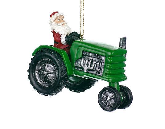 Santa on Green Tractor Ornament