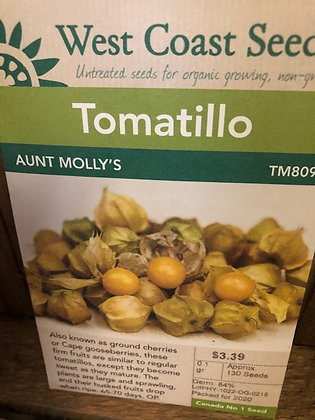 Seed - West Coast -Tomatillo Aunt Molly's