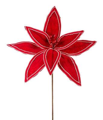 """Poinsettia Stem Red Felt 19"""""""