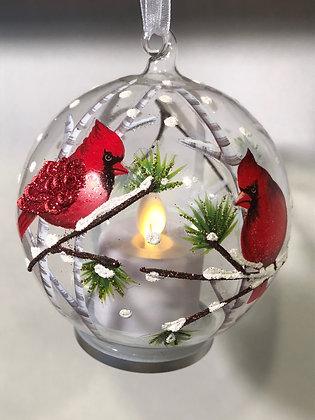 LED Glass Cardinal Ornament