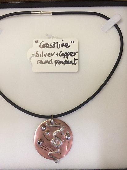 Coastline Silver & Copper pendant necklace