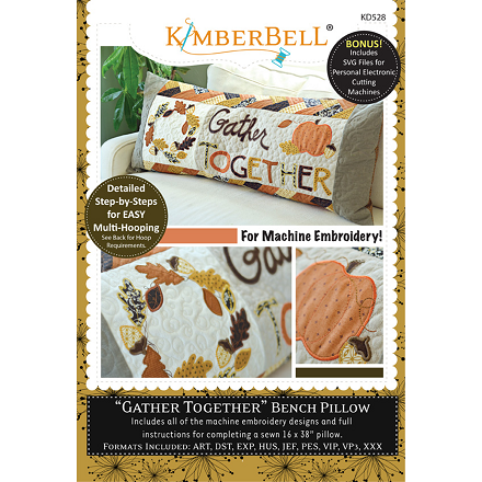 Kimberbell Gather Together Bench Pillow Machine Embroidery CD