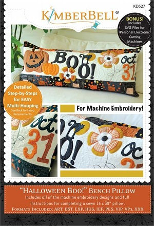 Kimberbell Halloween Boo Bench Pillow Machine Embroidery CD