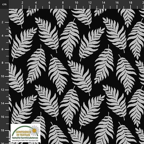 STOFF FABRICS AVALANA Jacquard (Black/Grey Ferns)