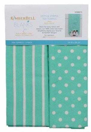 NT Kimberbell Dots and Stripes Tea Towels - Aqua