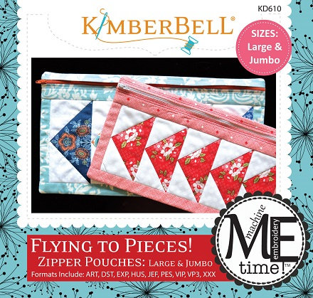 Kimberbell Flying to Pieces Zipper Pouch Embroidery CD - Large & Jumbo Sizes