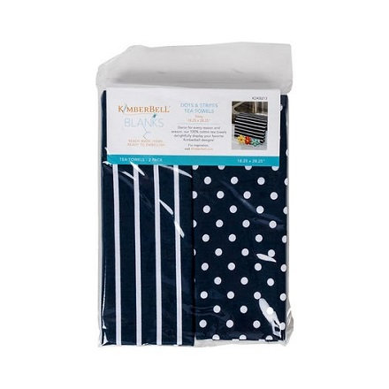 NT Kimberbell Dots and Stripes Tea Towels - Navy