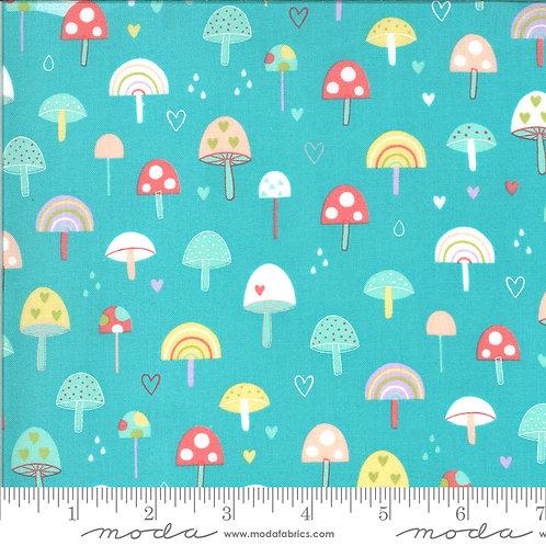 Moda Hello Sunshine Mushrooms (Aqua)