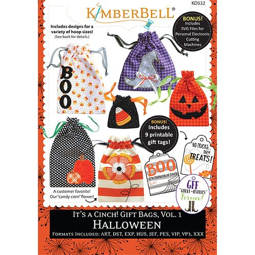 Kimberbell It's a Cinch Gift Bags Embroidery CD - Halloween