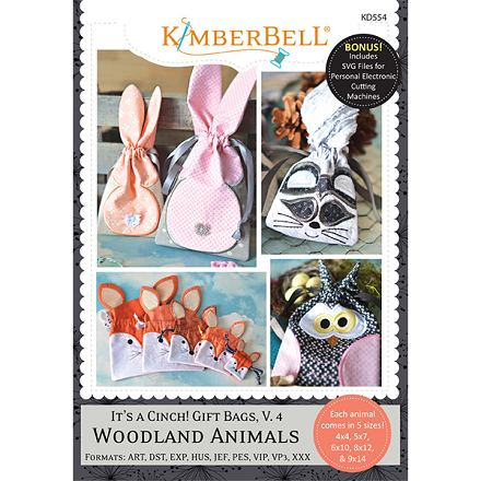 Kimberbell It's A Cinch! Gift Bags Volume 4 Woodland Animals