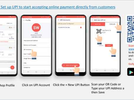 GullyBuy's latest release for Vendors allows them to receive online payment via UPI from customers!