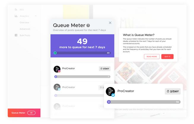 crowdfire queue meter feature social media management branding expert brandingexpert.net