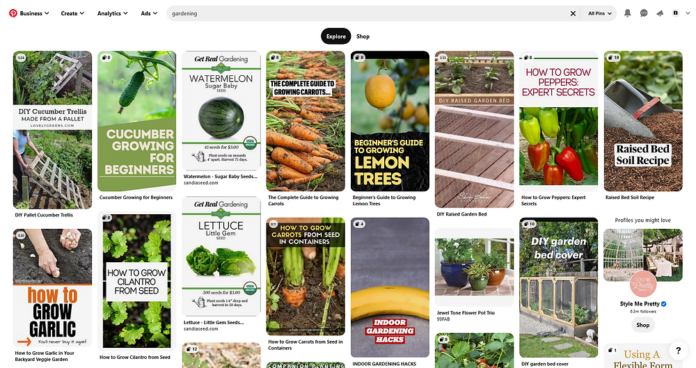 pinterest search feed gardening results explore page