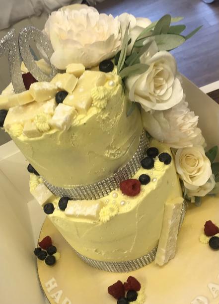Lemon themed celebration cake