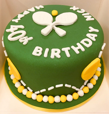 Tennis themed celebration cake