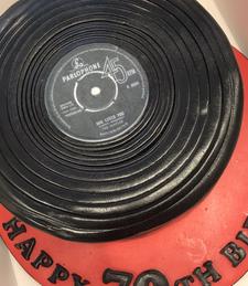 Vinyl themed celebration cake