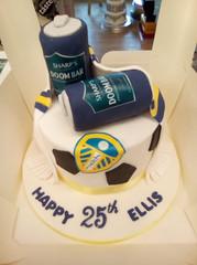 Leeds United themed birthday cake