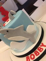 Shark themed birthday cake