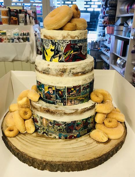 Marvel comic themed wedding cake