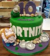 Fortnite themed celebration cake