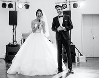 wedding couple singing