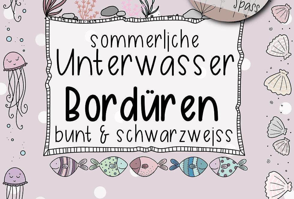 sommerliche Unterwasser-Bordüren bunt & schwarzweiss