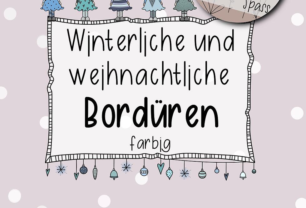 winterliche & weihnachtliche Bordüren bunt