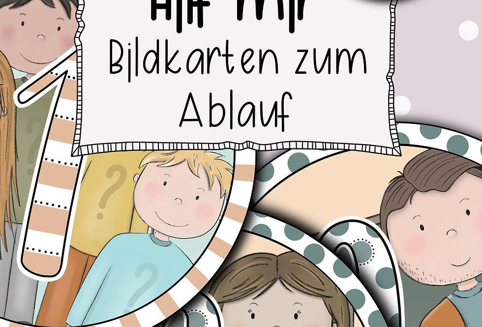 """""""Hilf mir""""- Helfersystem - Bildkarten zum Ablauf"""