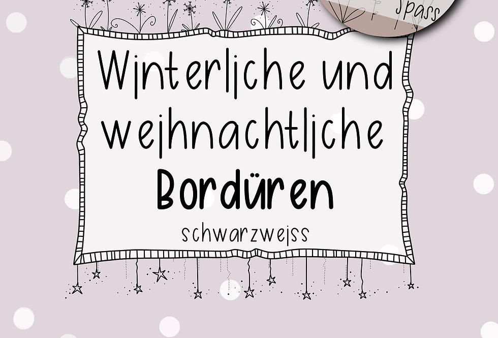 winterliche & weihnachtliche Bordüren schwarzweiss