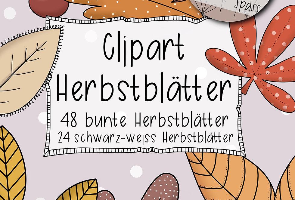 """Clipartset """"Herbstblätter bunt und schwarzweiss"""""""
