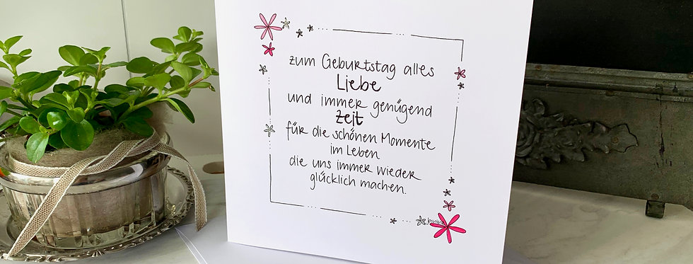 "Geburtstagskarte ""Blumenrand"""