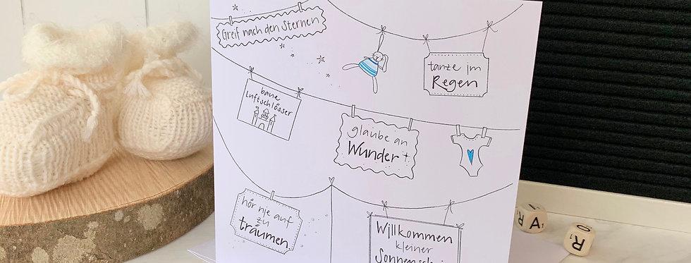 """Karte zur Geburt """"Willkommen Sonnenschein"""""""
