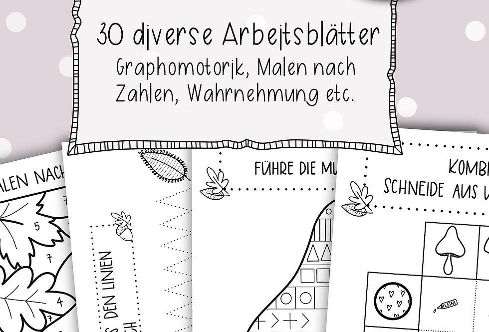 Herbst Arbeitsblätter - diverses (Grapho, Wahrnehmung, Logik...)