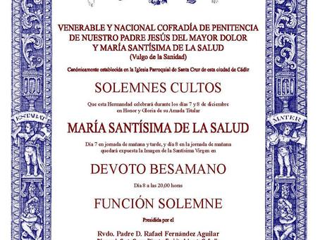 SOLEMNES CULTOS A                                MARIA SANTISIMA DE LA SALUD