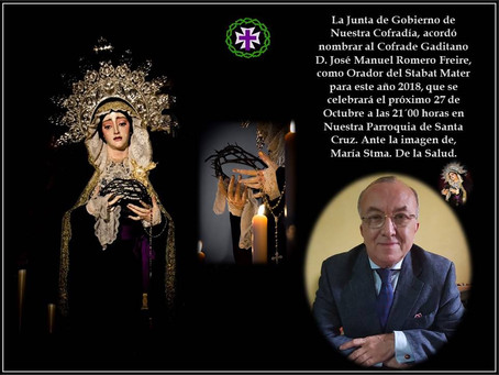José Manuel Romero Freire, designado orador del 'Stábat Mater'2018 a la Virgen de la Salud