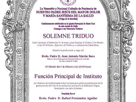 SOLEMNE TRIDUO Y FUNCION PRINCIPAL DE INSTITUTO