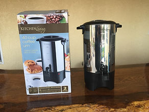 Kelli's Party Rental coffee urn for rent on a budget, low price